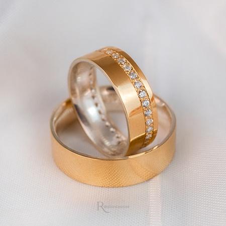Aliança em Ouro 18k e Prata 6mm 10 gramas Reta Modelo Charlote - Rosê