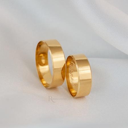 Alianças Ouro 18k 6mm 7 gramas Chanfrada Lucy - Rosê