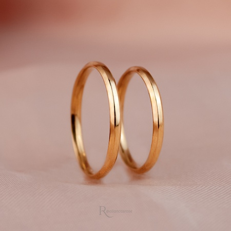 Alianças Ouro 18k 2mm 4g Chanfrada Modelo Zara - Rosê