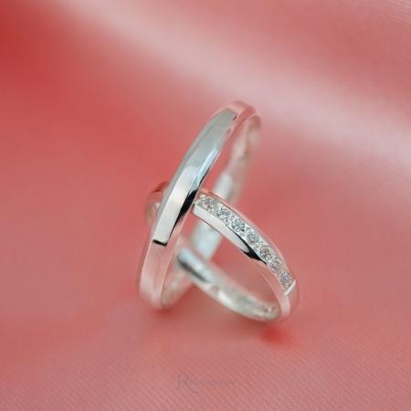 Par de aliança de prata 3mm Chanfrada modelo Donzela - Rosê
