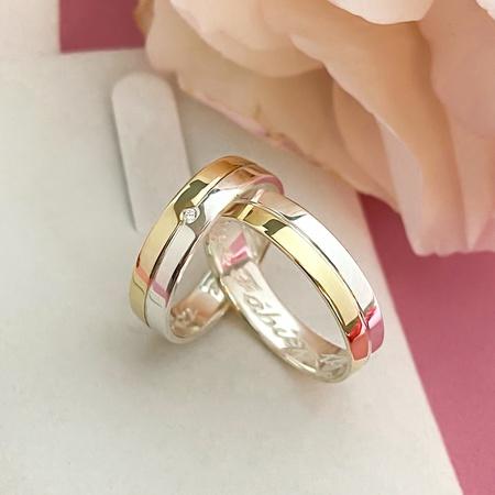 Par Aliança de Casamento 4mm Reta Ouro e Prata Modelo Mister - Rosê
