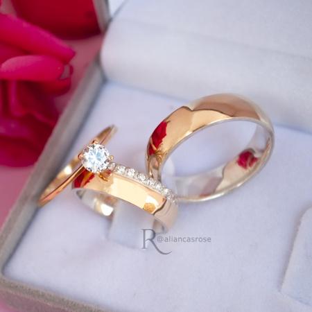 Combo Par de aliança ouro 18k e Prata 6mm Elizabeth + Solitário Mon Amour - Rosê