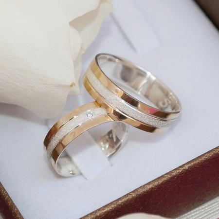 Aliança de Ouro 18k e Prata 6mm Roman Prata - Rosê