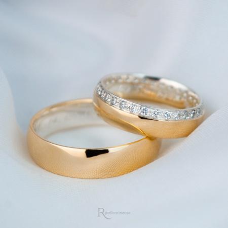 Aliança em Ouro 18k e Prata 6mm 10 gramas Modelo Elizabeth - Rosê