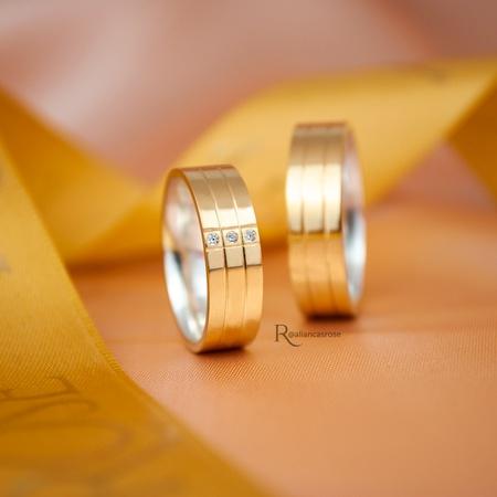 Aliança em Ouro 18k e Prata 6mm 10 gramas Modelo Guardian Crystal - Rosê