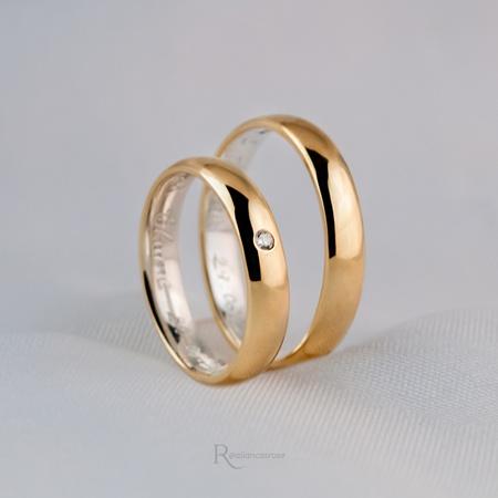 Aliança de Ouro 18K e Prata 4mm 8 gramas Modelo Leon - Rosê