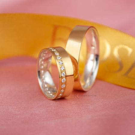 Aliança em Ouro 18k e Prata 6mm 10 gramas Reta Modelo Rapunzel - Rosê