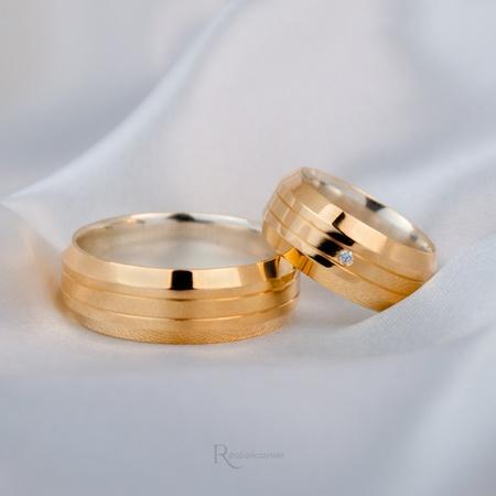 Aliança em Ouro 18k e Prata 8mm 16 gramas Modelo Tróia - Rosê