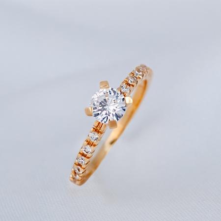 Anel Solitário/Noivado Ouro 18K Modelo Diana - Rosê