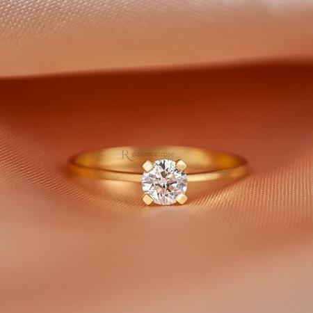 Anel Solitário Noivado Ouro 18K Mon Amour - Rosê