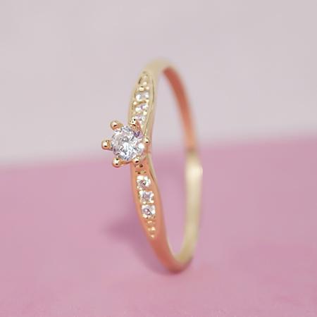 Anel Solitário Noivado Ouro 18k Modelo Saron - Rosê
