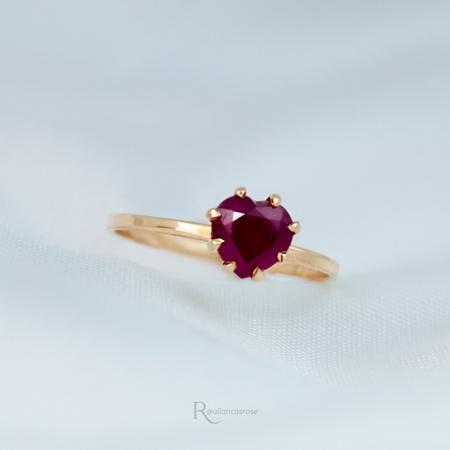 Anel Ouro 18K Rubi Natural Modelo Ruby - Rosê