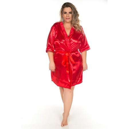 Robe Cetim Curto Plus Size (PS2081) - Vermelho