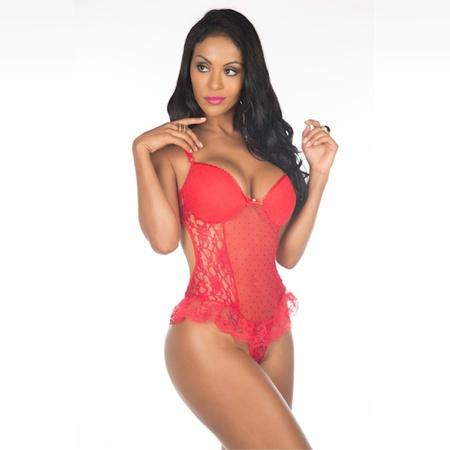 *Body Agatha (PS8102) - Vermelho C/ Preto