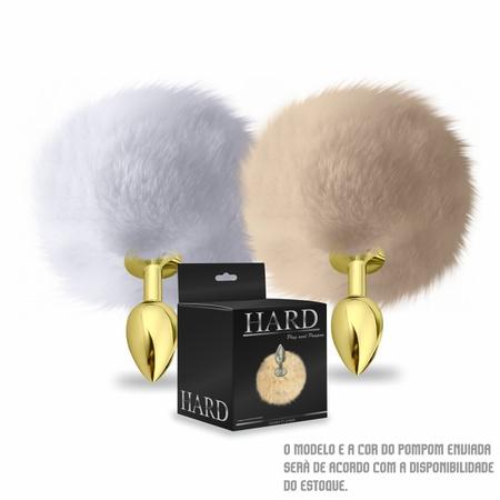 Plug Anal PomPom Cor Claro Hard ( CSA115-HA115-ST605 ) - Dourado