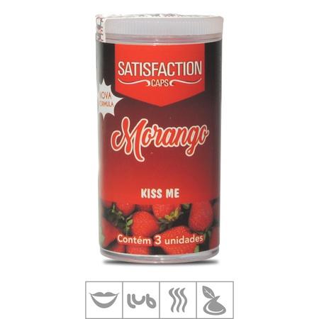 Bolinha Beijável Kiss Me Satisfaction Caps 3un (ST435) - Morango