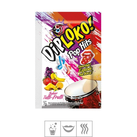 Bala Efervescente Dip Loko Pop Hits 7g (ST603) - Tutti-Frutti