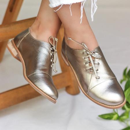 Sapato Feminino Oxford Couro Confortável Champagne - Melilla - 664-02