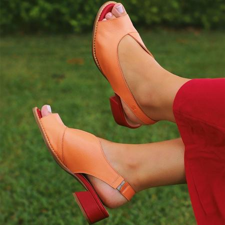 Sandália Salto Baixo Laranja e Vermelho - Florença... - Universo Bubblē