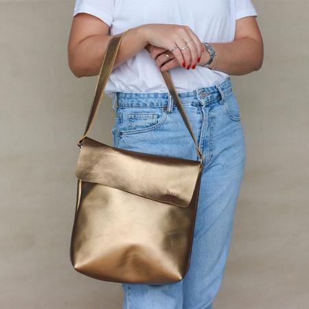 Bolsa de Couro Legítimo Feminina Lotus - Bronze - Universo Bubblê