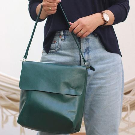 Bolsa de Couro Legítimo Feminina Lotus Verde Milit... - Universo Bubblê