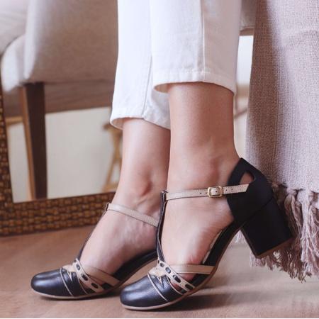Sapato Boneca Bali - Salto Baixo Preto e Off - 908... - Universo Bubblê