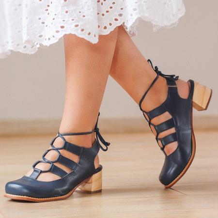 Sapato Feminino Salto Grosso Baixo Azul Marinho - ... - Universo Bubblê
