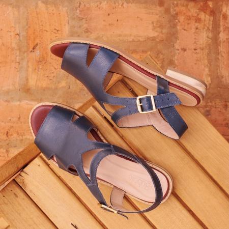 Sandália Salto Baixo Azul Marinho Tranquilidade- 8... - Universo Bubblê