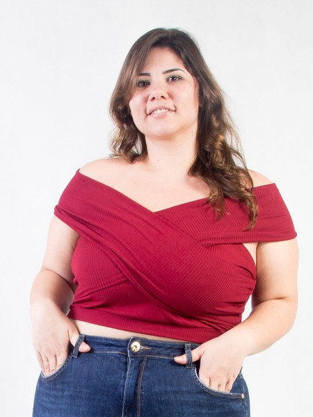 Cropped Plus Size Ombro a Ombro Marsala