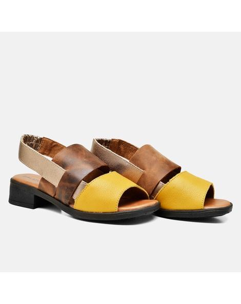 Sandália Florença Amarelo/Tabaco/Areia