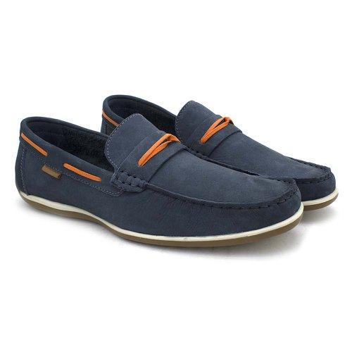 Sapato Mocassim em Couro Masculino Buzios Azul