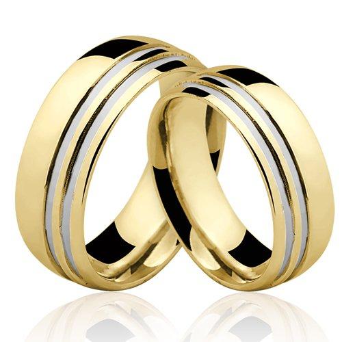 Alianças de Ouro 18k/750 Com Filete de Ouro Branco AL116