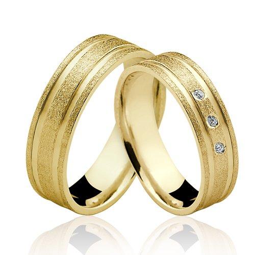 Alianças de Ouro 18k/750 com Diamantes AL129