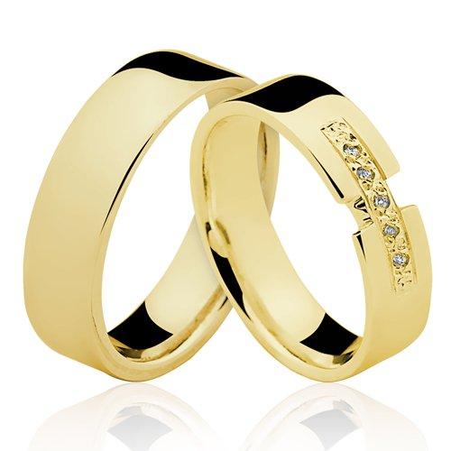 Alianças de Ouro 18k/750 Com Diamante AL144