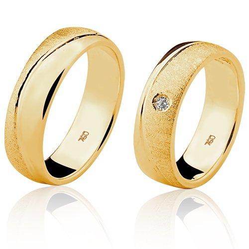 Alianças de Ouro 18k/750 com Diamante AL82