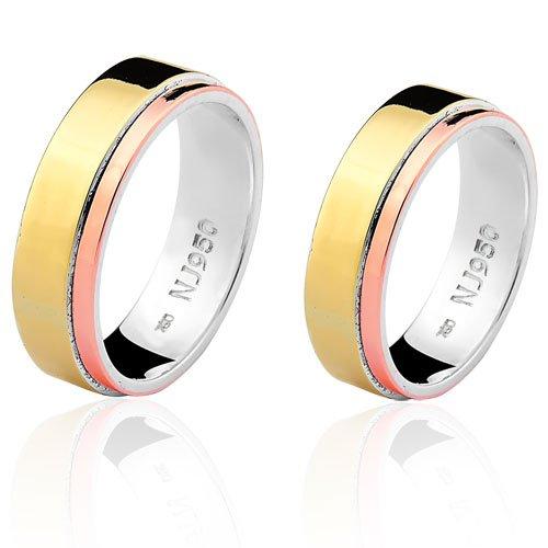 Par de Aliança Casamento/Noivado Mista em Ouro 18k/750 e Prata 950 AL159