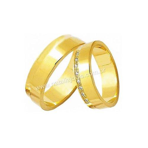 Alianças de Ouro com Diamantes 18k/750 AE63