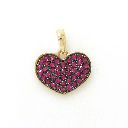 Pingente de Coração em Ouro 18k cravejado com Rubis