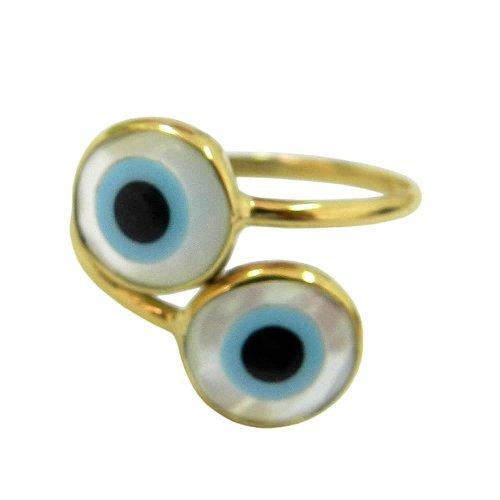 Anel em ouro com Duplo Olho Grego para Maior Proteção