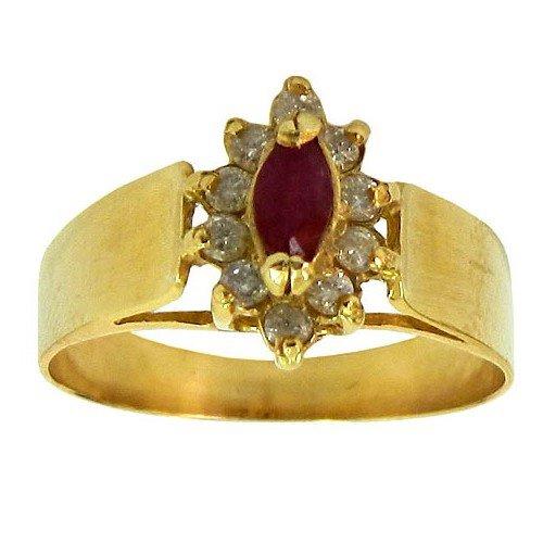 Anéis de Formatura Direito em Ouro com Rubi e Brilhantes