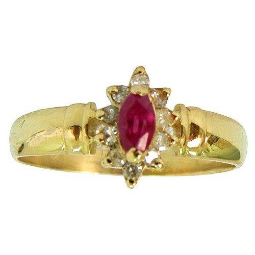 Anéis Femininos de Ouro cravejados com Brilhantes e Rubis