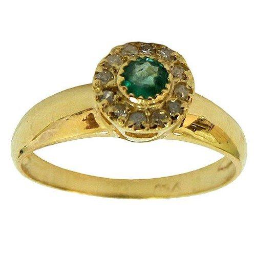 Anel Solitário de Ouro 18K cravejado com Diamantes e Esmeralda