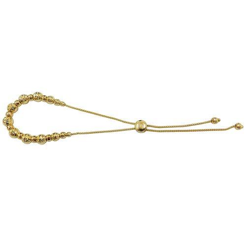 Pulseira em Ouro 18k Regulável com Bolinhas Diamantadas