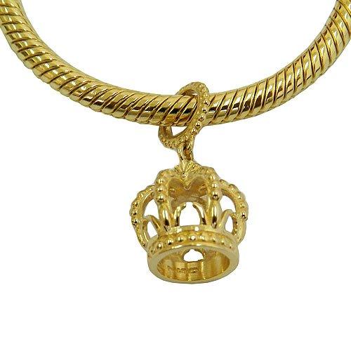 Berloque de Coroa em Ouro 18k para pulseira estilo Pandora