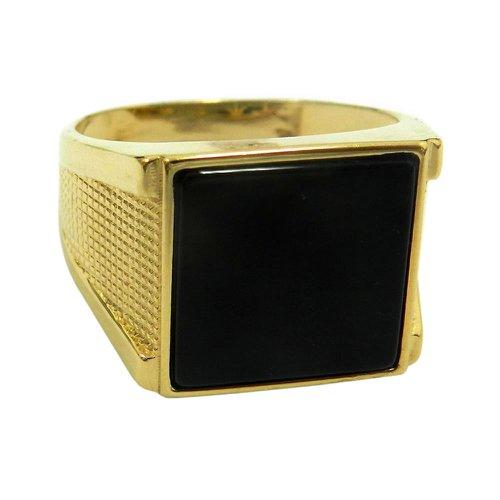 Anel em Ouro 18k Masculino Quadrado com Onix