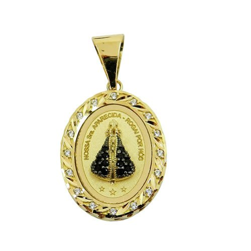 Pingente Medalha Nossa Sra. Aparecida em Ouro com Zircônias P