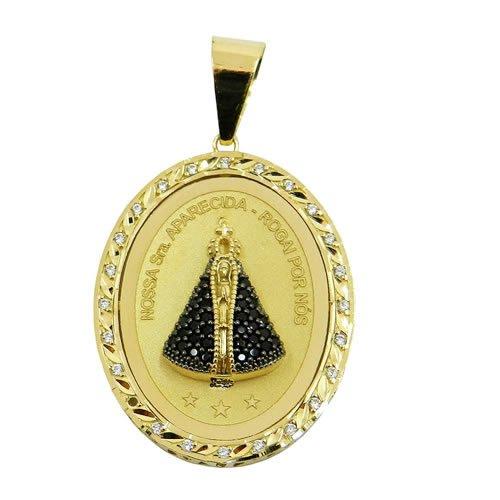 Medalha N. Sra. Aparecida com Oração Ave Maria em Ouro com Zircônias M