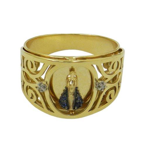 Anel em Ouro 18k N. Senhora Aparecida com Brilhantes de Safiras