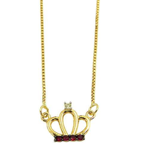 Gargantilha princesa em Ouro 18K com Brilhante e Rubis