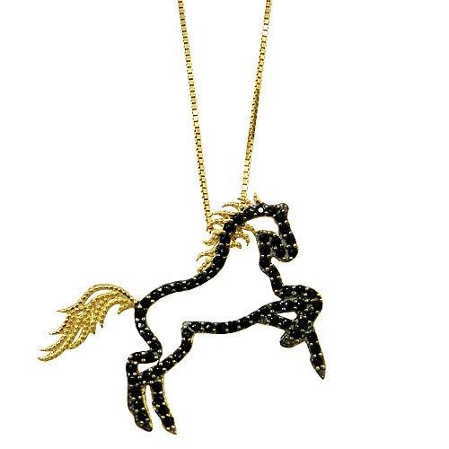 Pingente Cavalo em Ouro 18K cravejado com Espinélio